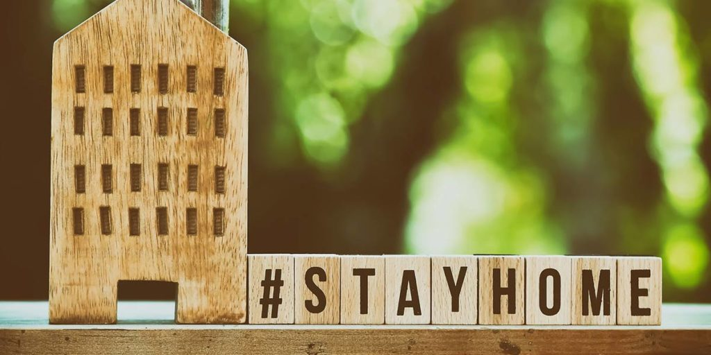 Wooden block with #stayhome written on them